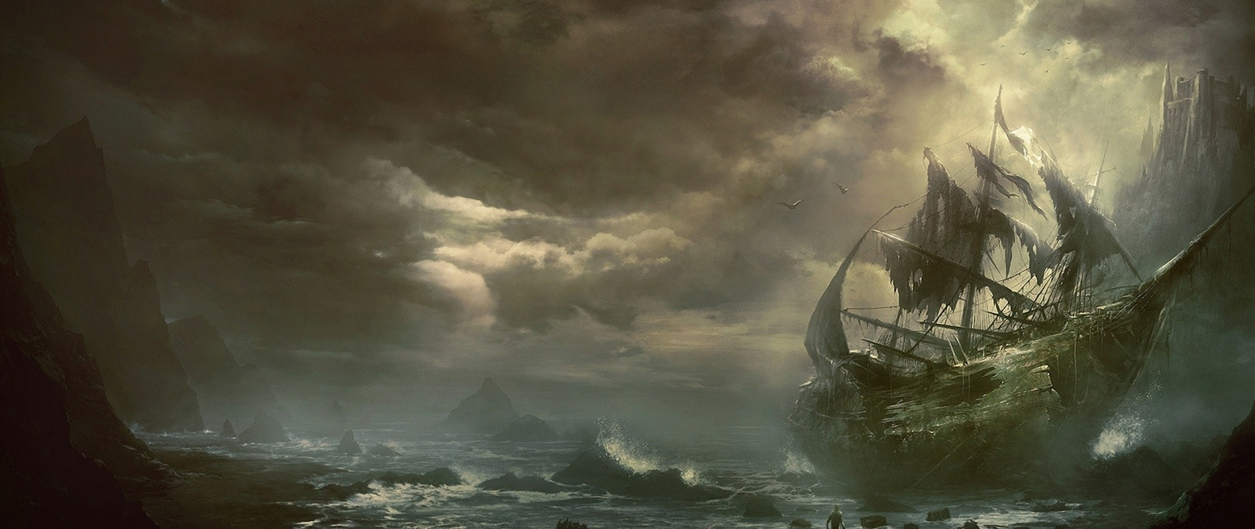 2560x1080 Wallpaper mountains clouds sea ship sailboat destroyed 2560x1080