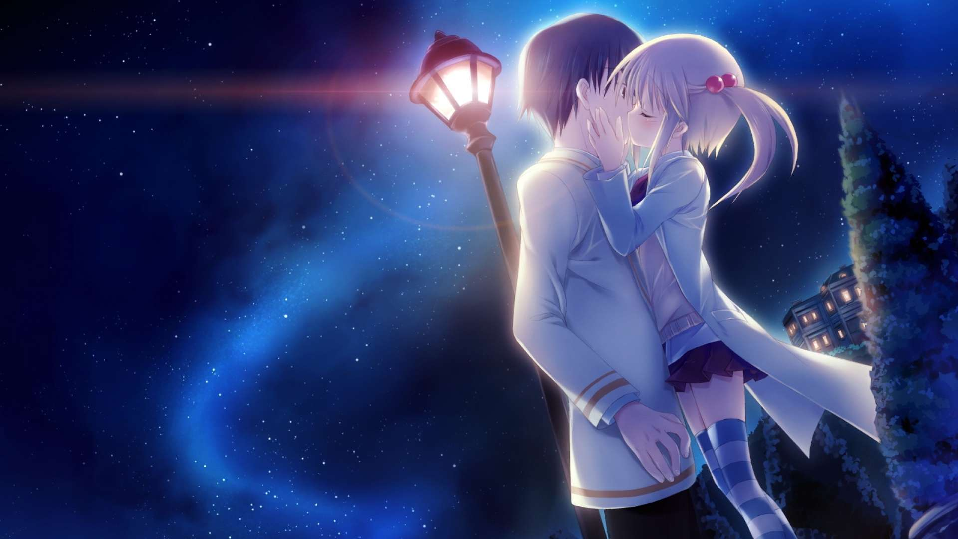 Wallpaper Anime Girl Kissing Boy HD Wallpaper 1080p Upload at 1920x1080