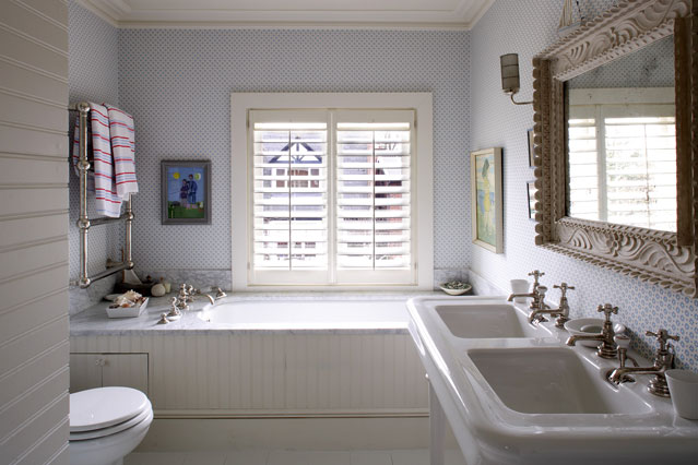 Wallpapered Bathroom   How Where to Hang Wallpaper   Decorating Tips 639x426