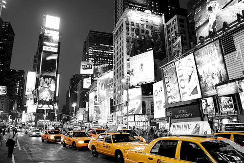Times Square New York Black White and Yellow taxi cab by Paul in 500x333