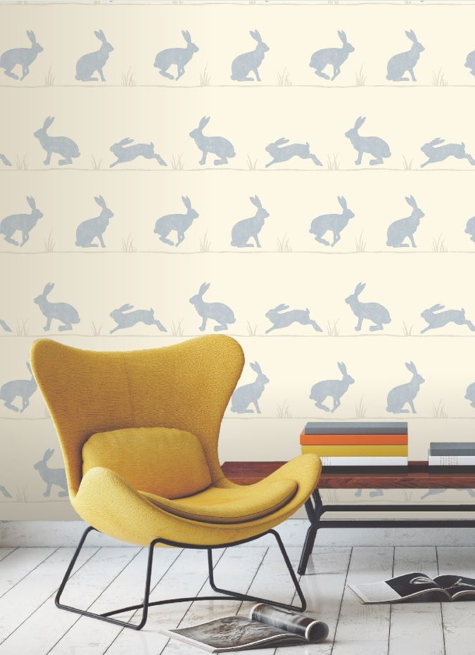 Hop to it with this fun bunny print wallpaper The light blue 675x931