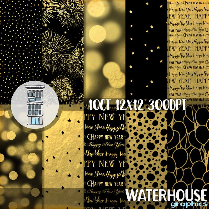 New Years Eve Digital Paper pack Black and GOLD Bokeh Etsy 794x794