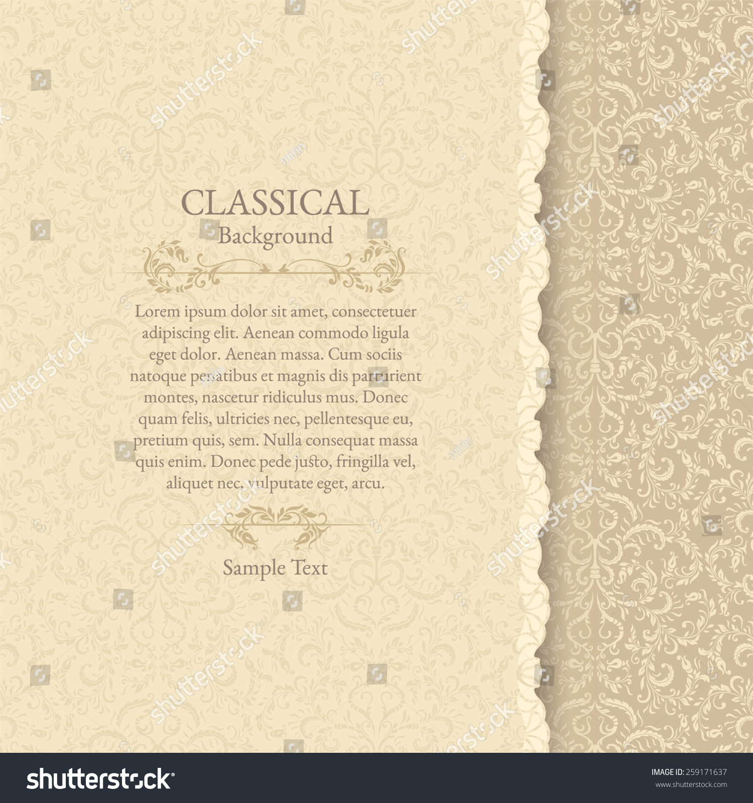 Invitation Card Classical Background Stock Vector Royalty 1500x1600