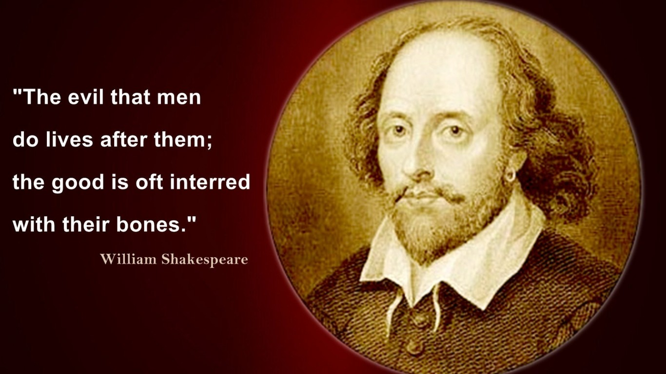 William Shakespeare Evil Quotes Wallpaper 10936   Baltana 1366x768