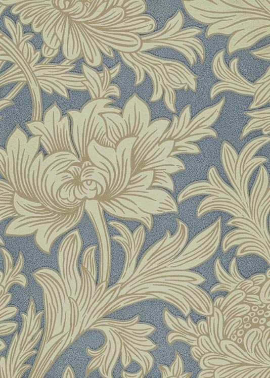 Toile Wallpaper Floral printed wallpaper in blue and cream 534x748