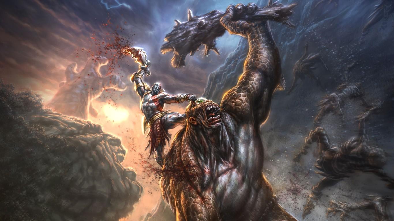 Free Download God Of War Wallpaper Kratos 1366x768 For