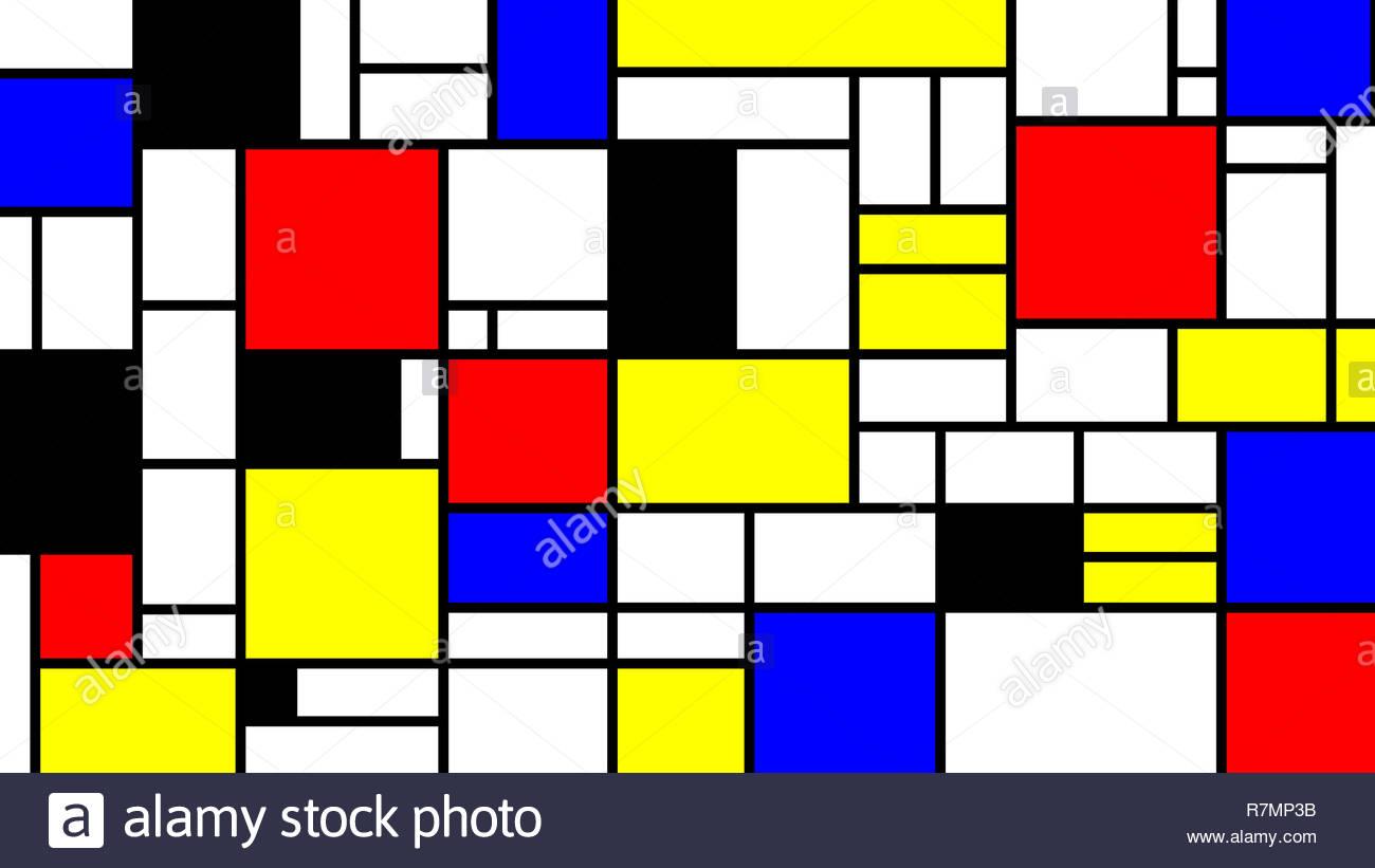 Neoplasticism imittation pattern Piet Mondrian style Large size 1300x821