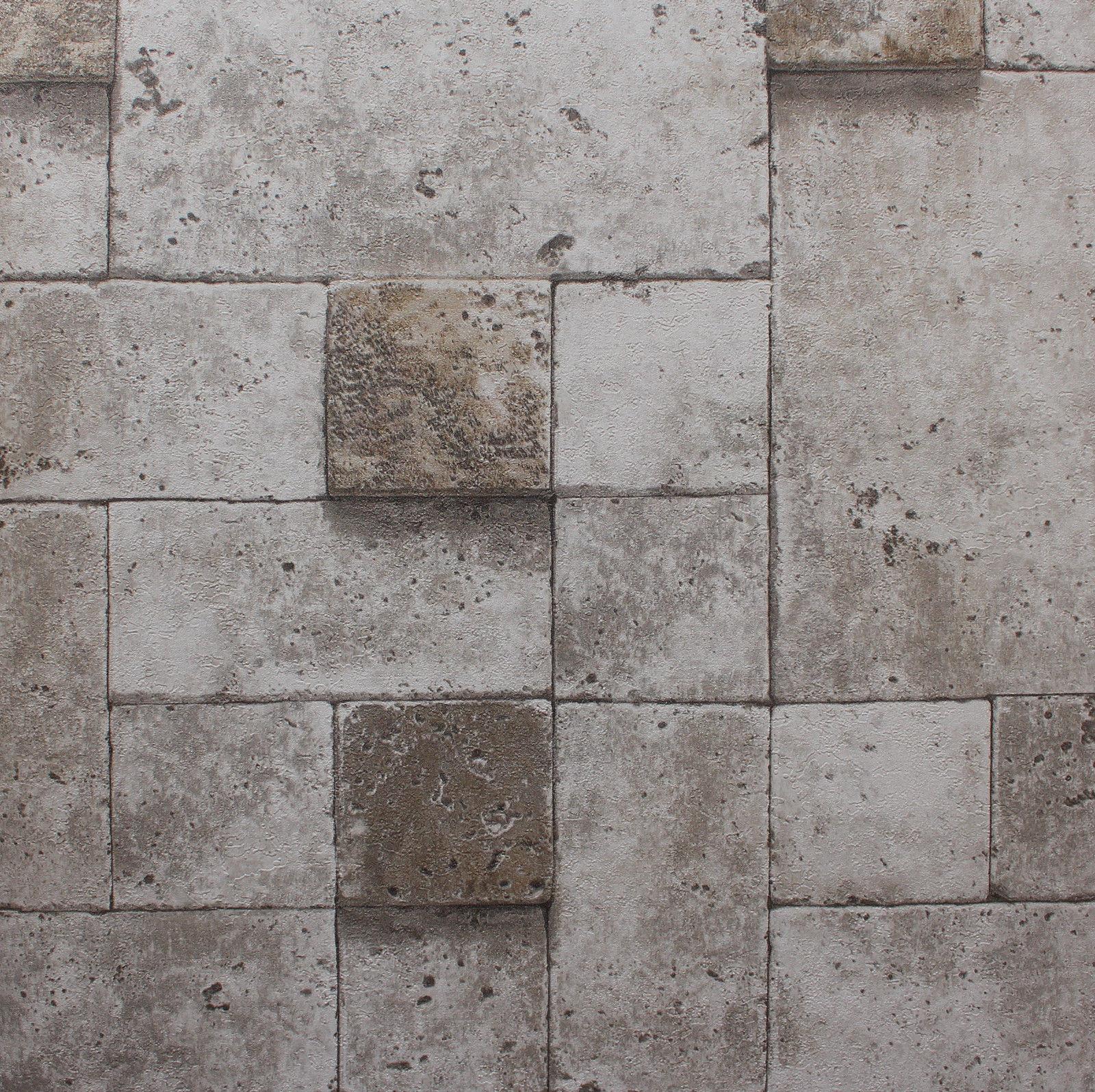 Roll 3D Real Look Realistic Grey Brick Stone Vinyl PVC Wallpaper 1600x1596