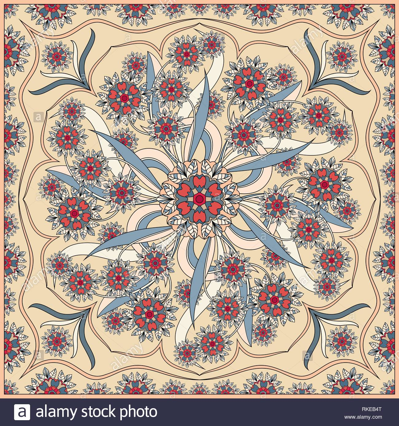 Detailed floral pattern for scarf shawl carpet or embroidery 1300x1390