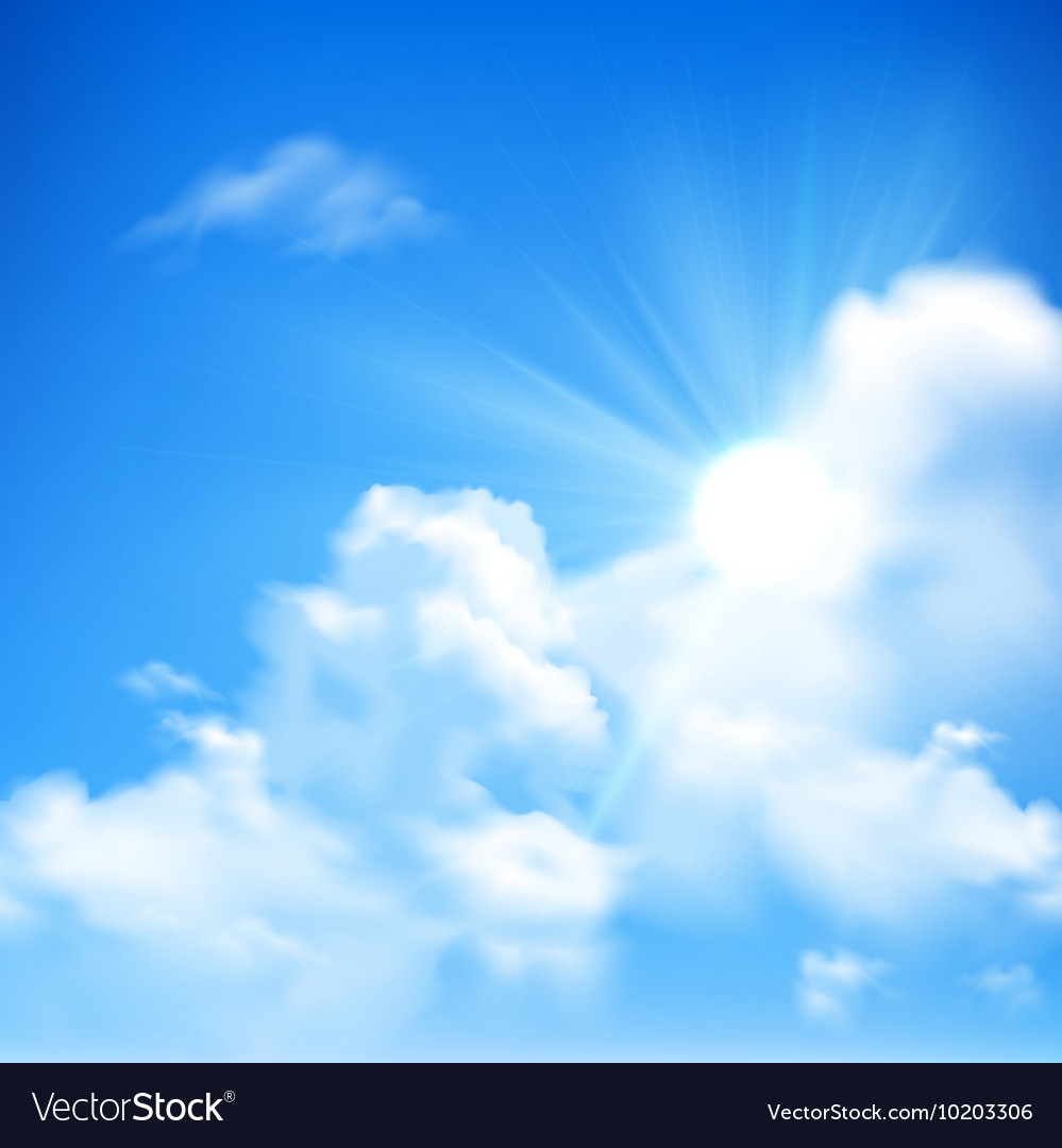 Sun And Clouds Background Royalty Vector Image 999x1080