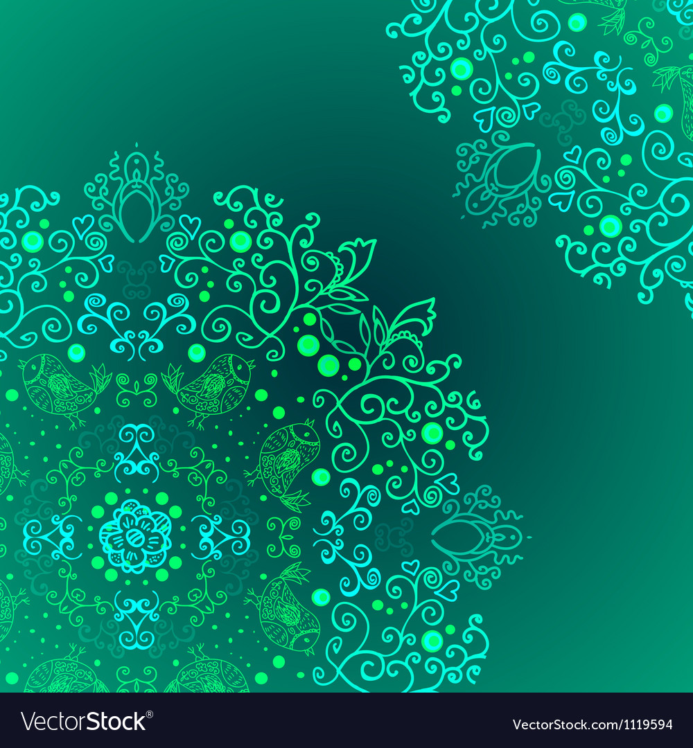 Emerald floral background ethnic ornament Vector Image 1000x1080