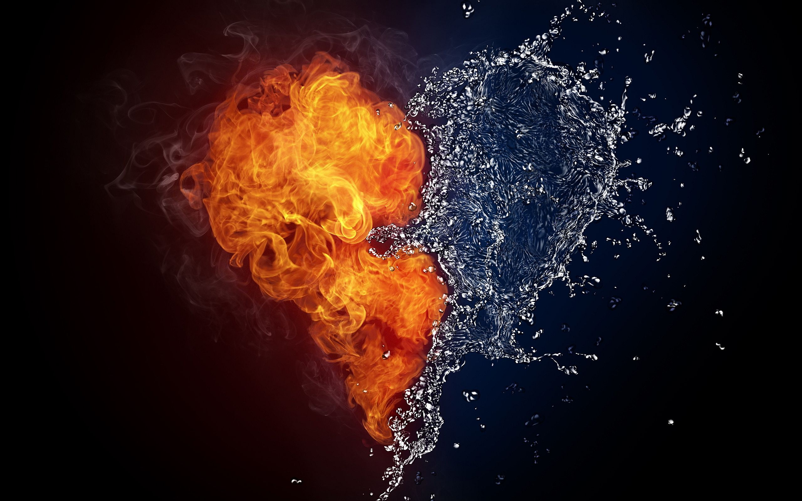 hearts on fire Fire Water Heart Wallpapers Pictures Photos 2560x1600