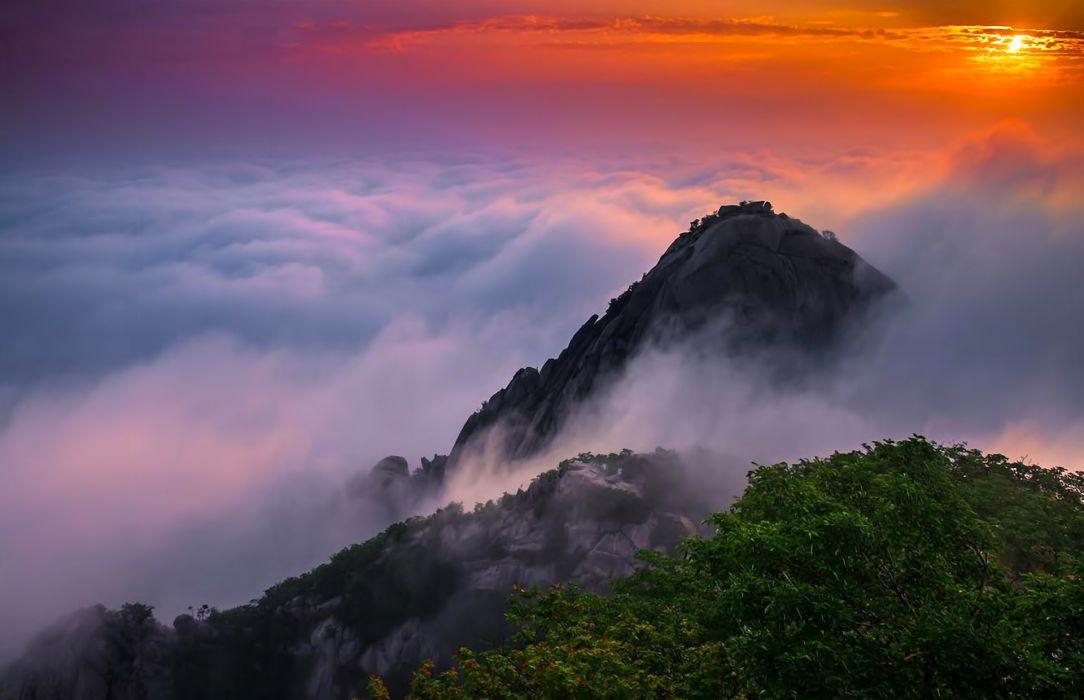 Landscape mountains sunrise clouds beauty Korea wallpaper 1084x700