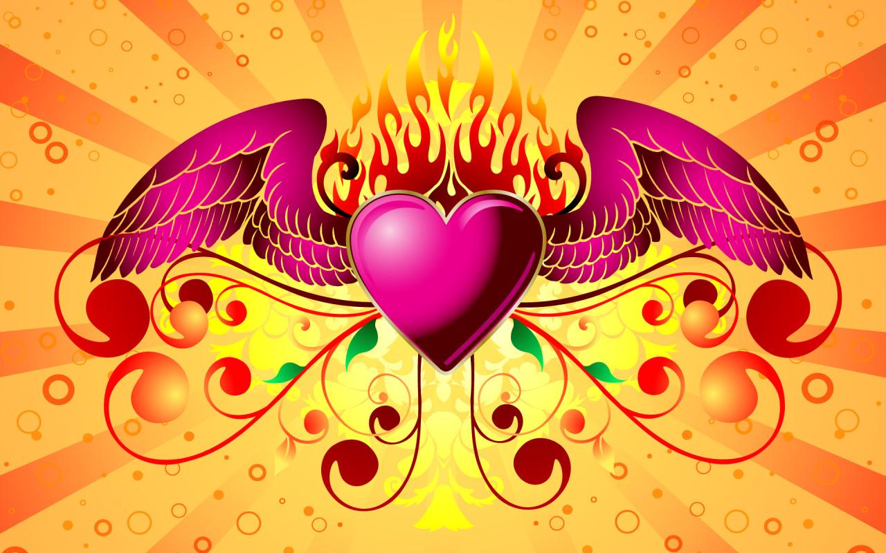 Heart with wings Desktop wallpapers 1280x800 1280x800