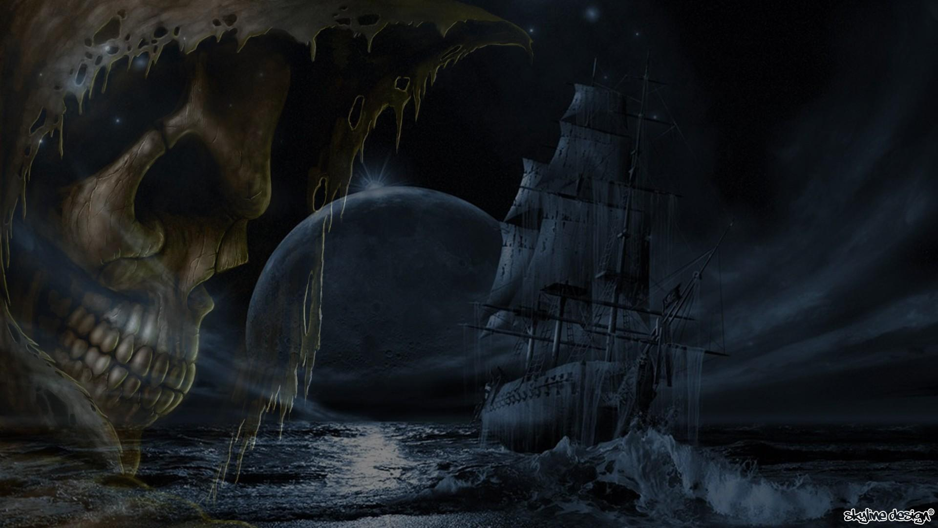 Skulls moon ships ghosts digital art ghost ship wallpaper 78329 1920x1080