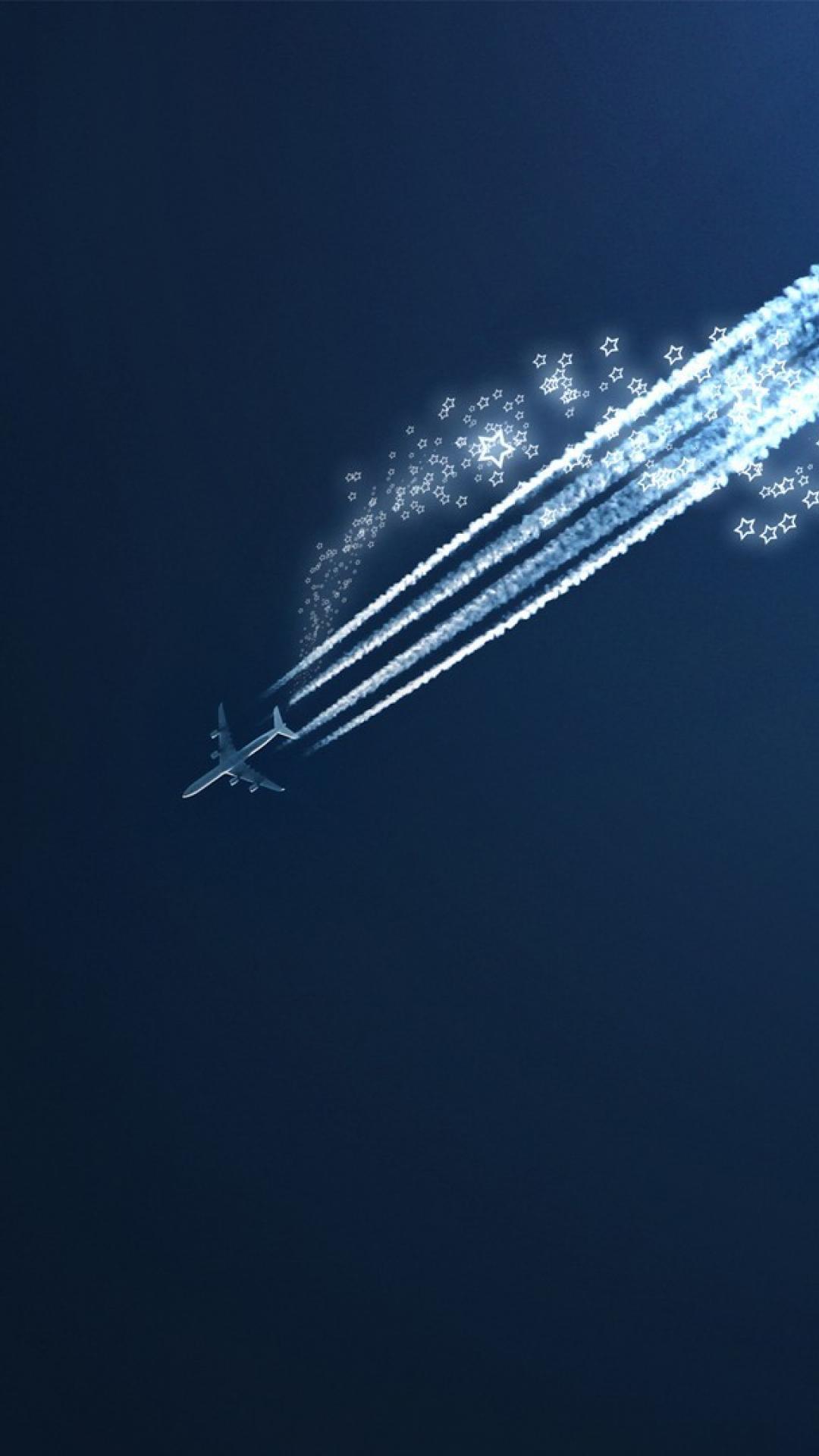 Aircraft shooting star blue background wallpaper 14789 1080x1920