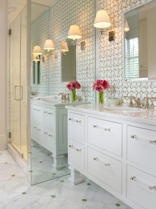White Traditional Bathroom with Bold Patterned Wallpaper HGTV 616x822