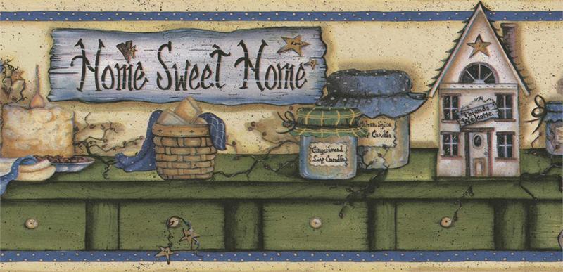 Blue Home Sweet Home Wallpaper Border   Kitchen Bathroom 800x387