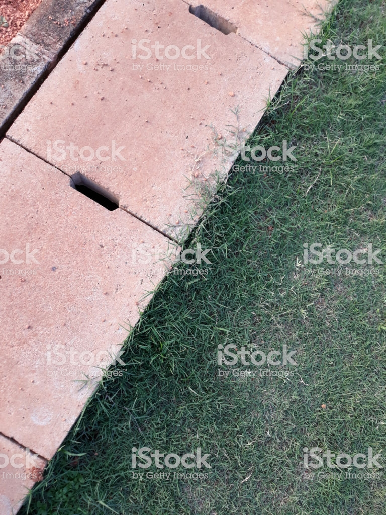 Cement Drain Grate Crossed And Green Grass With Abstract 768x1024