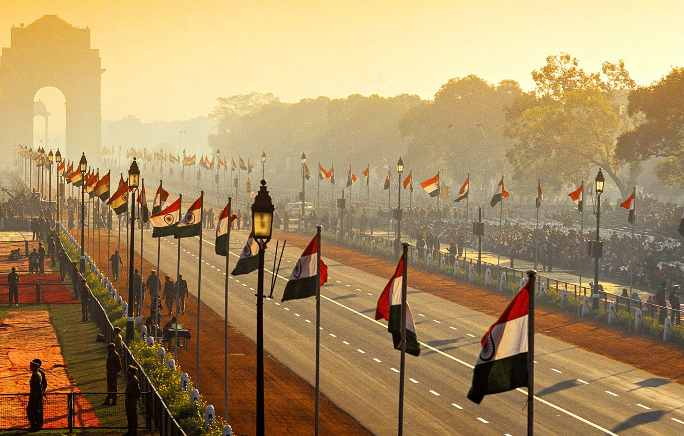 Wallpaper street India arch parade flags Republic Day New 1332x850