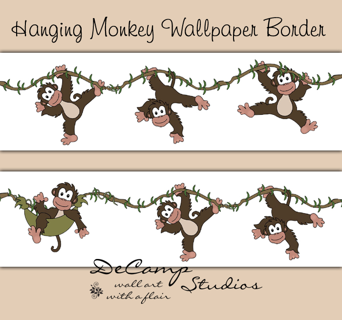 Hanging Monkey Wallpaper Border Wall Decals Boy Jungle Room [307] 700x655