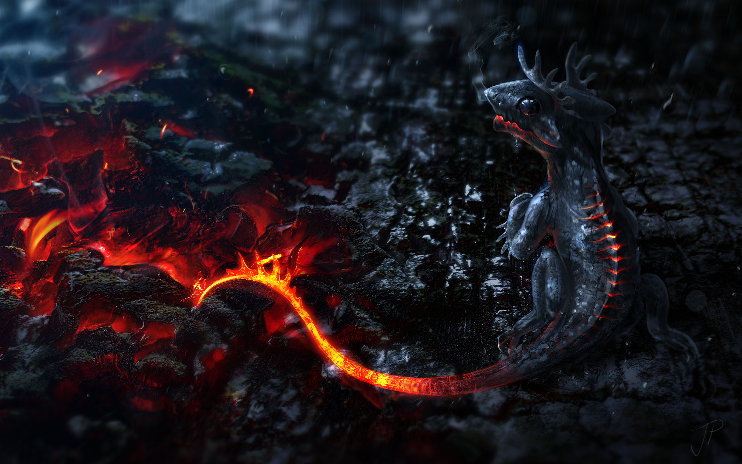 Mythical Creatures Artwork Small Dragons Tails Fire Lava Smoke Magma 2560x1600