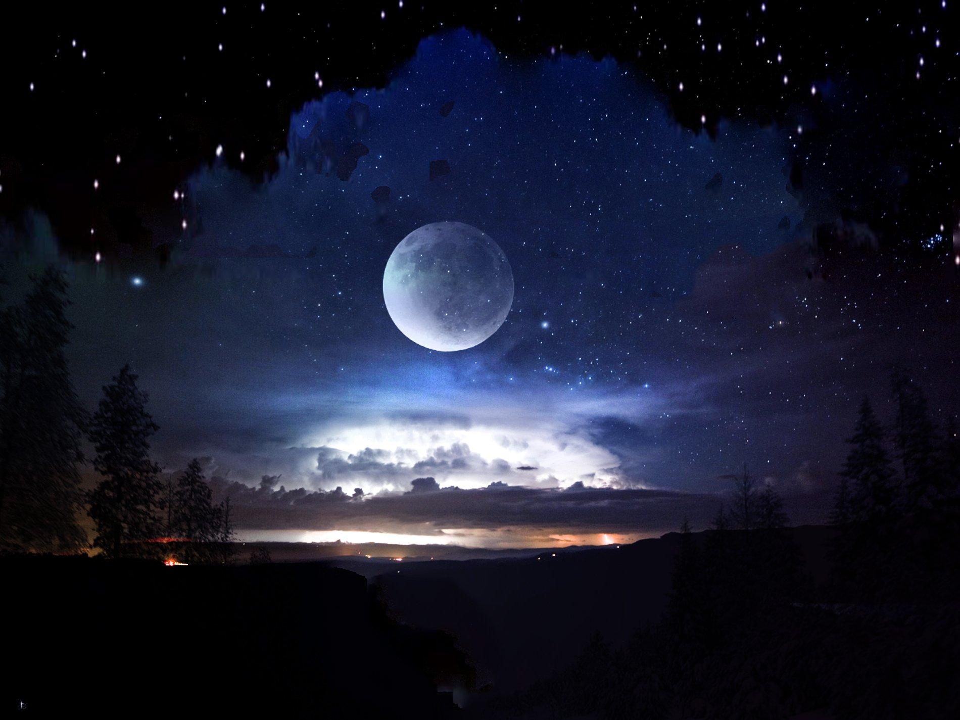Moon And Stars Desktop Wallpaper