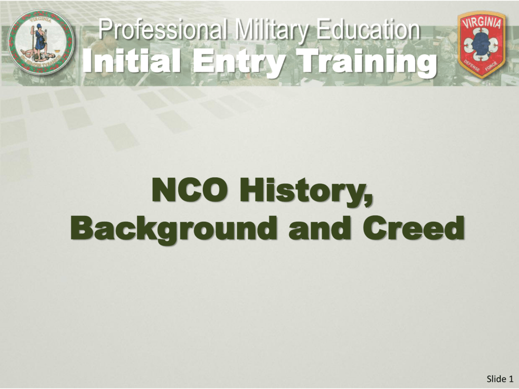 NCO History Background and Creed Initial Entry Training 1024x768