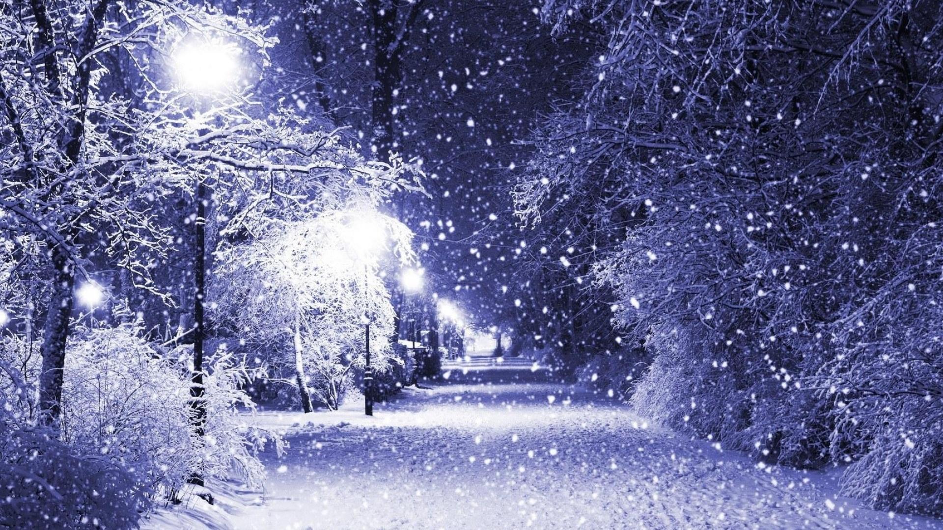winter night snow landscape Wallpaper High definition Wallpapers 1920x1080