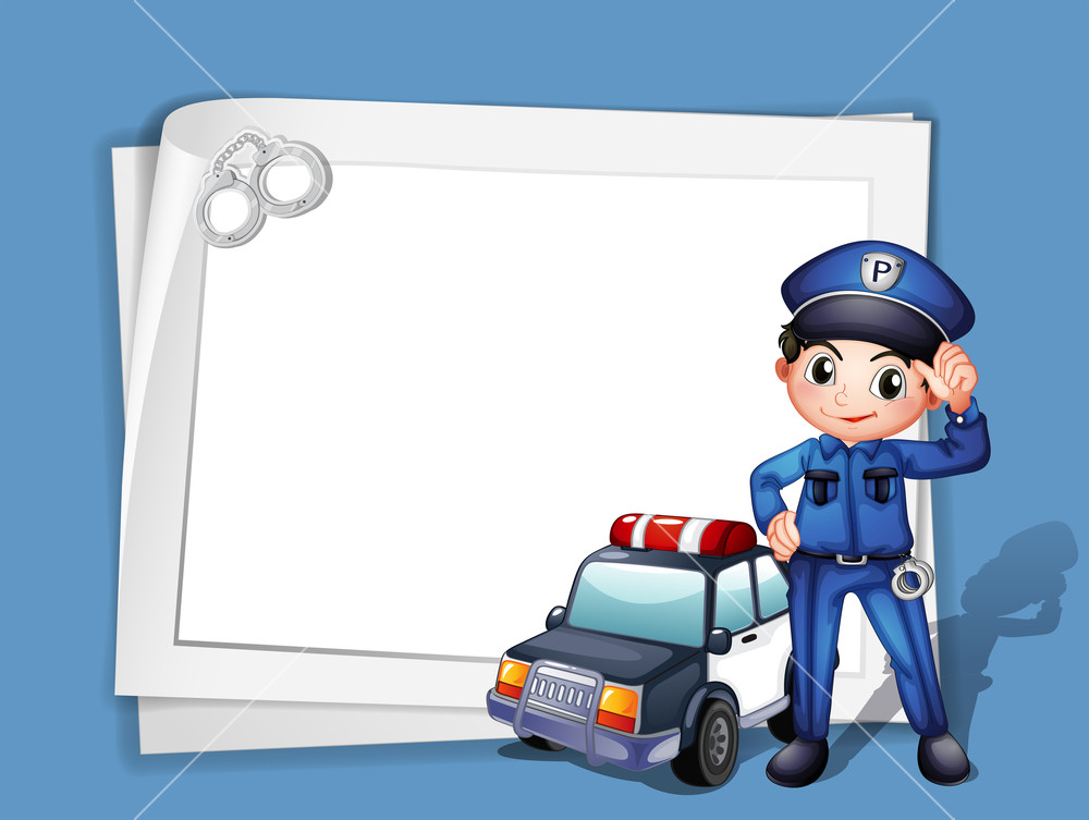 Illustration of a policeman beside a police car on a blue 1000x753