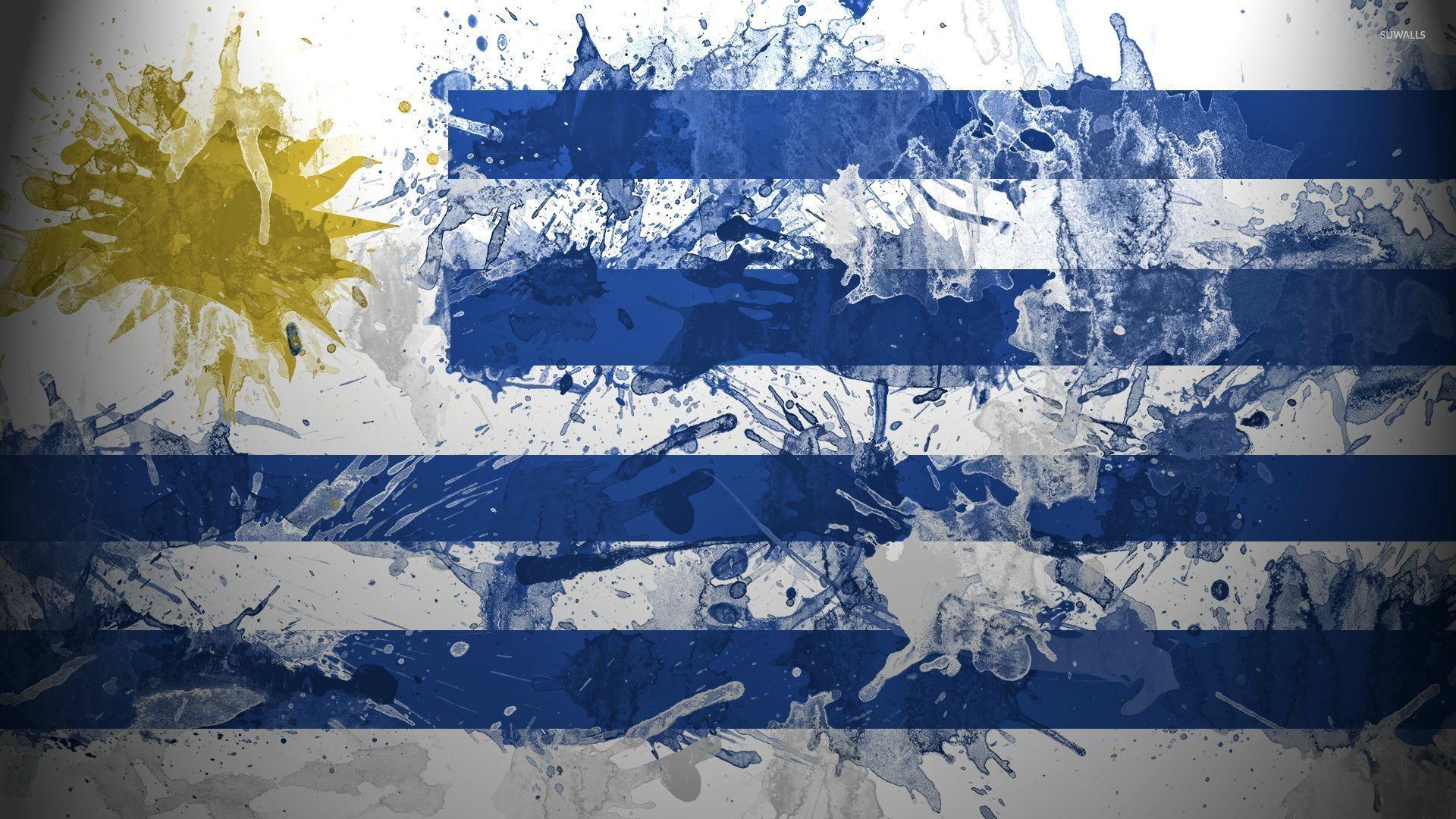 Flag of Uruguay with paint drops wallpaper   Digital Art 1920x1080