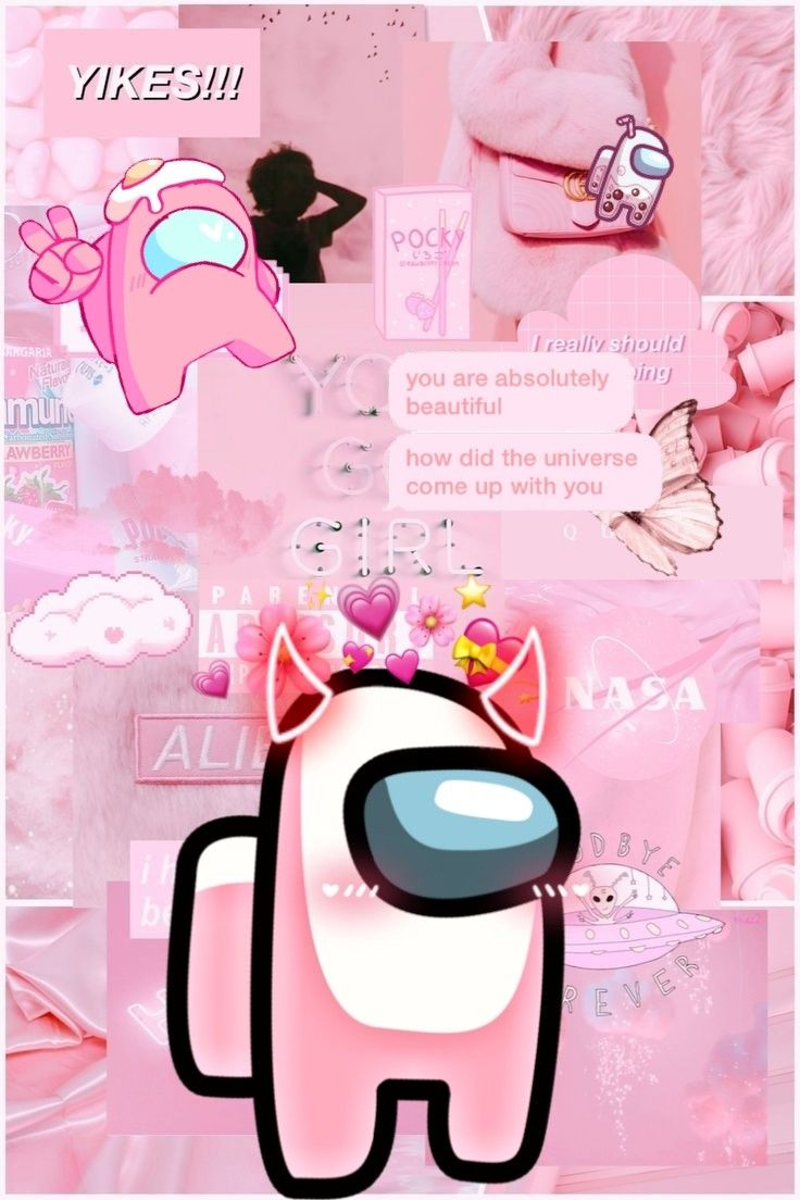 Light pink Among Us Aesthetic wallpaper Wallpaper iphone cute 736x1104