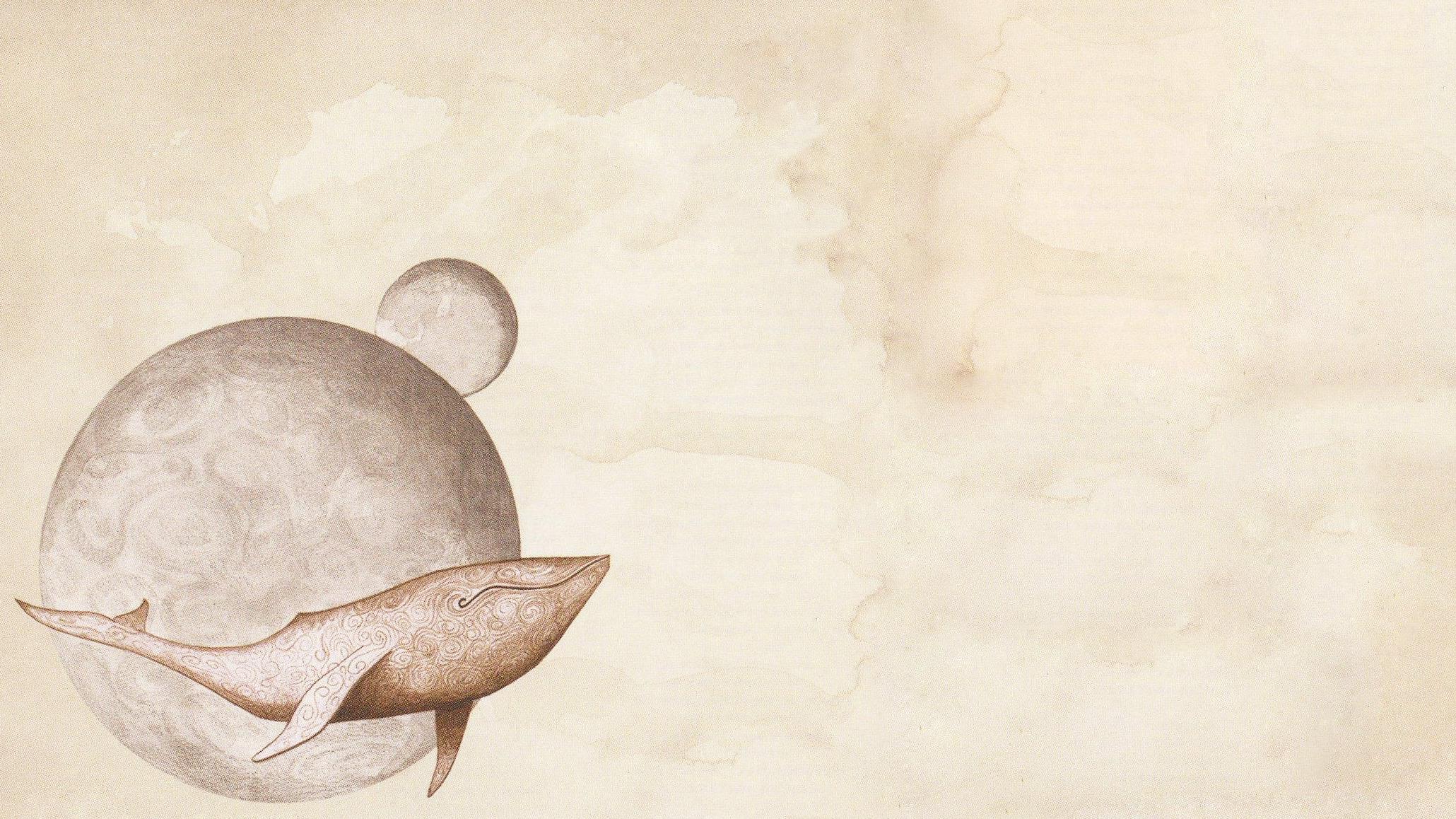 digital Art Universe Space Planet Minimalism Whale Simple 2060x1158