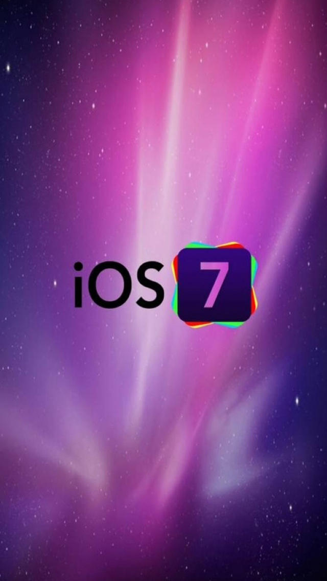 iOS 7 Logo With Purple Galaxy Background iPhone 5 5S 5C Wallpaper 640x1136