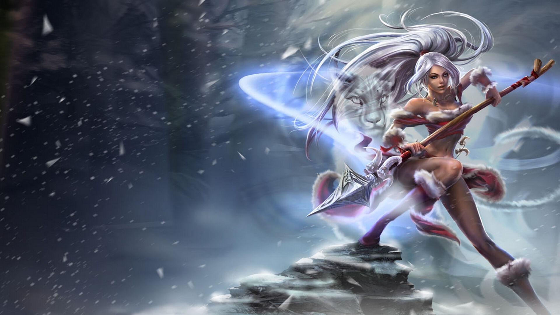 Legends Nidalee girl cat snow cold spear fantasy wallpaper background 1920x1080