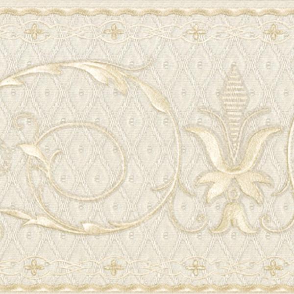 451 1643 Cream Fleur De Lis Scroll   Brewster Wallpaper Borders 600x600