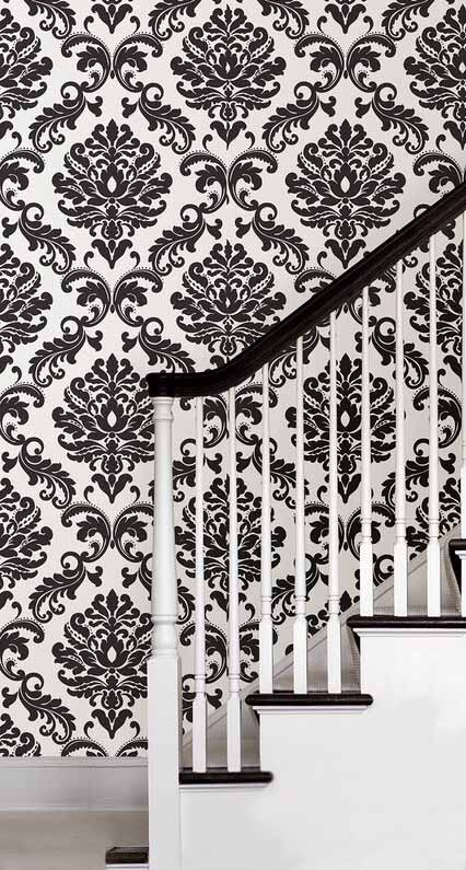 Ariel Black Damask Peel And Stick NuWallpaper   RosenberryRoomscom 426x795