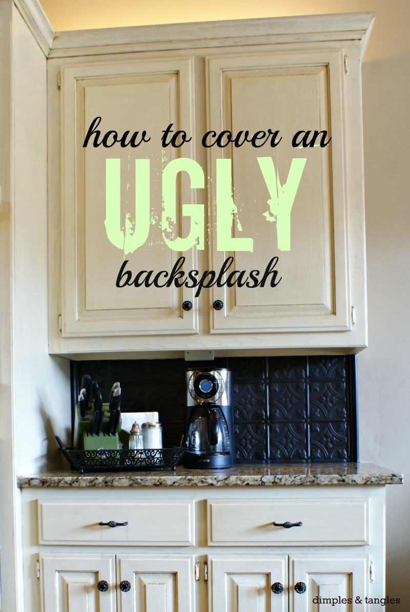 Dimples and Tangles How to Cover an Ugly Kitchen Backsplash Way Back 800x1195