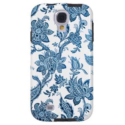 Elegant Vintage Blue and White Floral Wallpaper Galaxy S4 Case 512x512