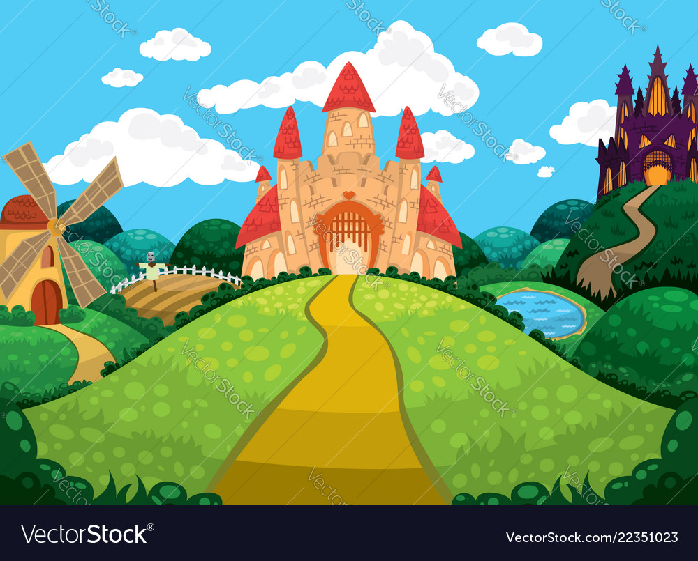 Beautiful background with castles pond mill and Vector Image 1000x805