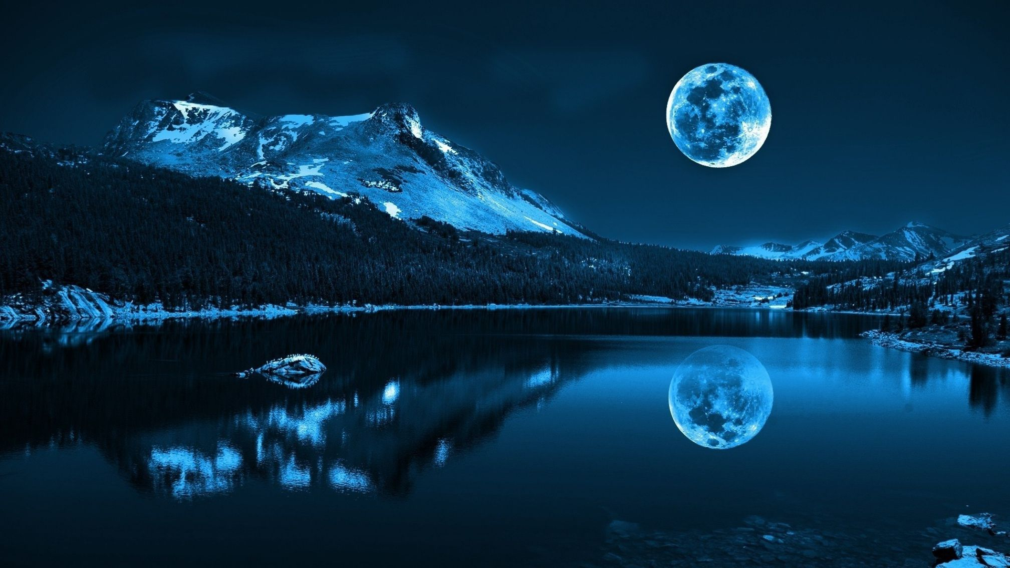 Image for 3D Wallpaper Of Lake And Moon Wallpaper Backgrounds HD 2016x1134