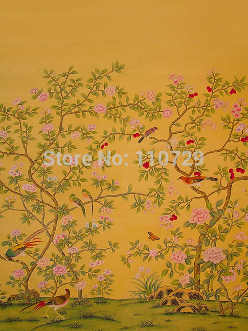 style Hand painted silk wallpaper painting flowers with birds silk 485x648