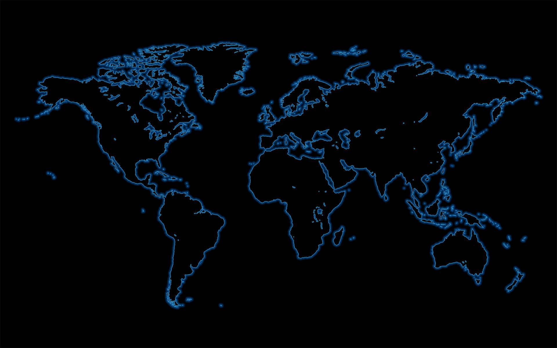 Black World Map Wallpaper 8643 Hd Wallpapers in Travel n World 1920x1200