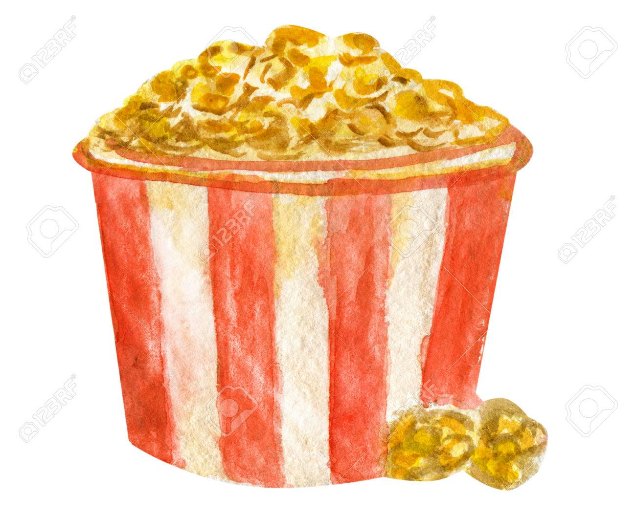 Watercolor Golden Popcorn In Striped Bucket On White Background 1300x1056