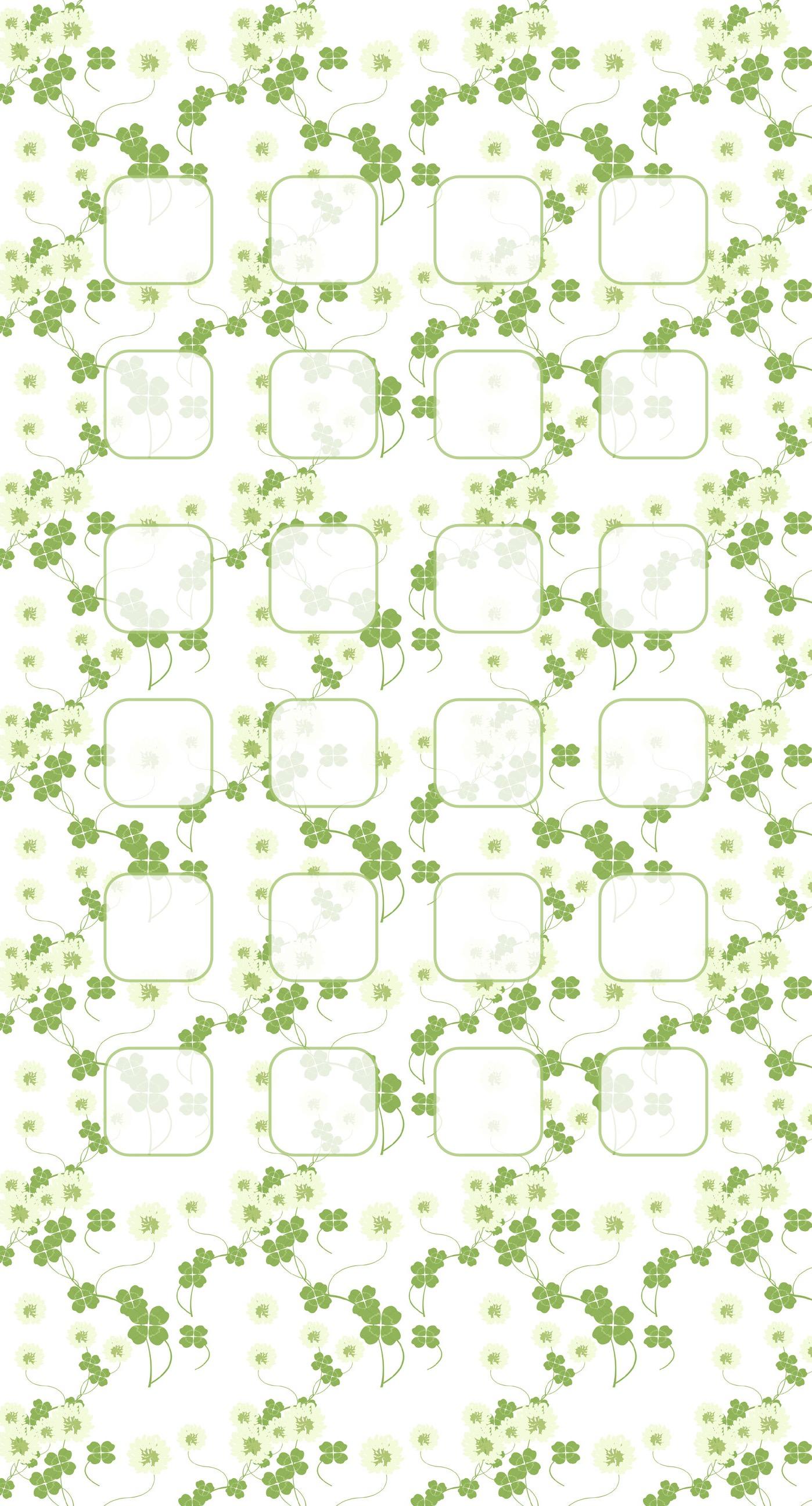 Clover pattern illustrations green shelf wallpapersc iPhone7Plus 1398x2592