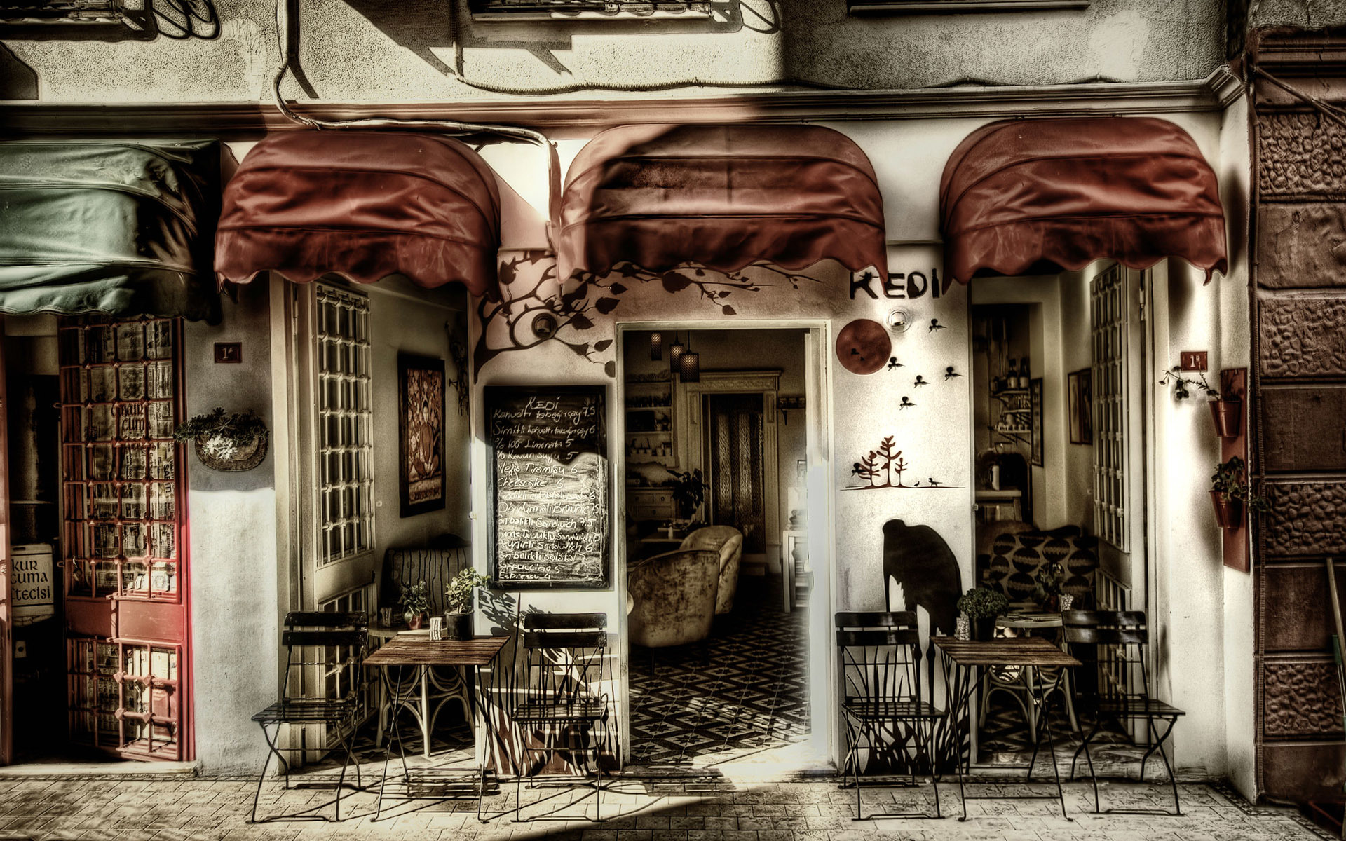 Coffee shop wallpaper wallpapersafari for Old french wallpaper