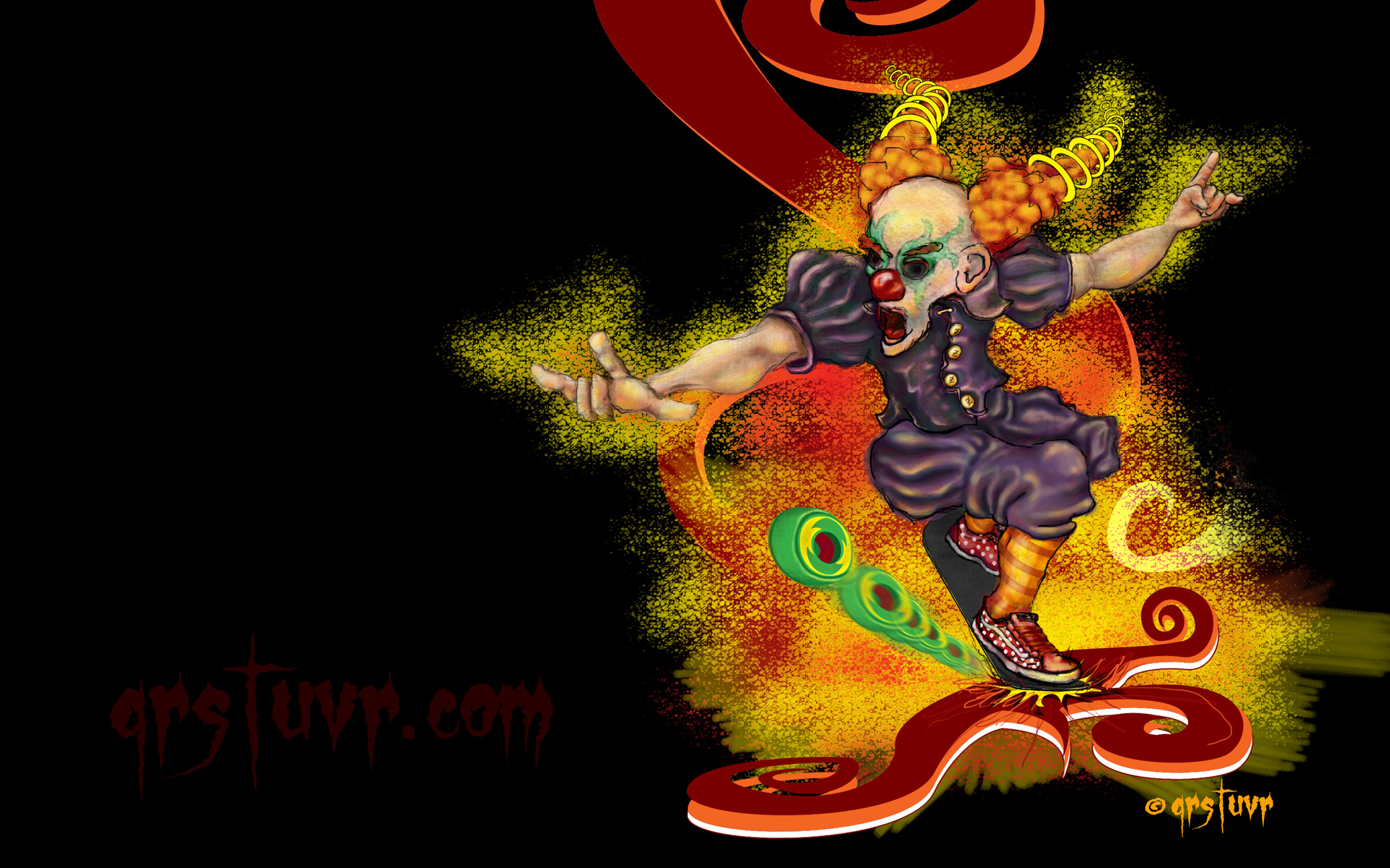 skate wallpaper clown art qrstuvr 1920x1200
