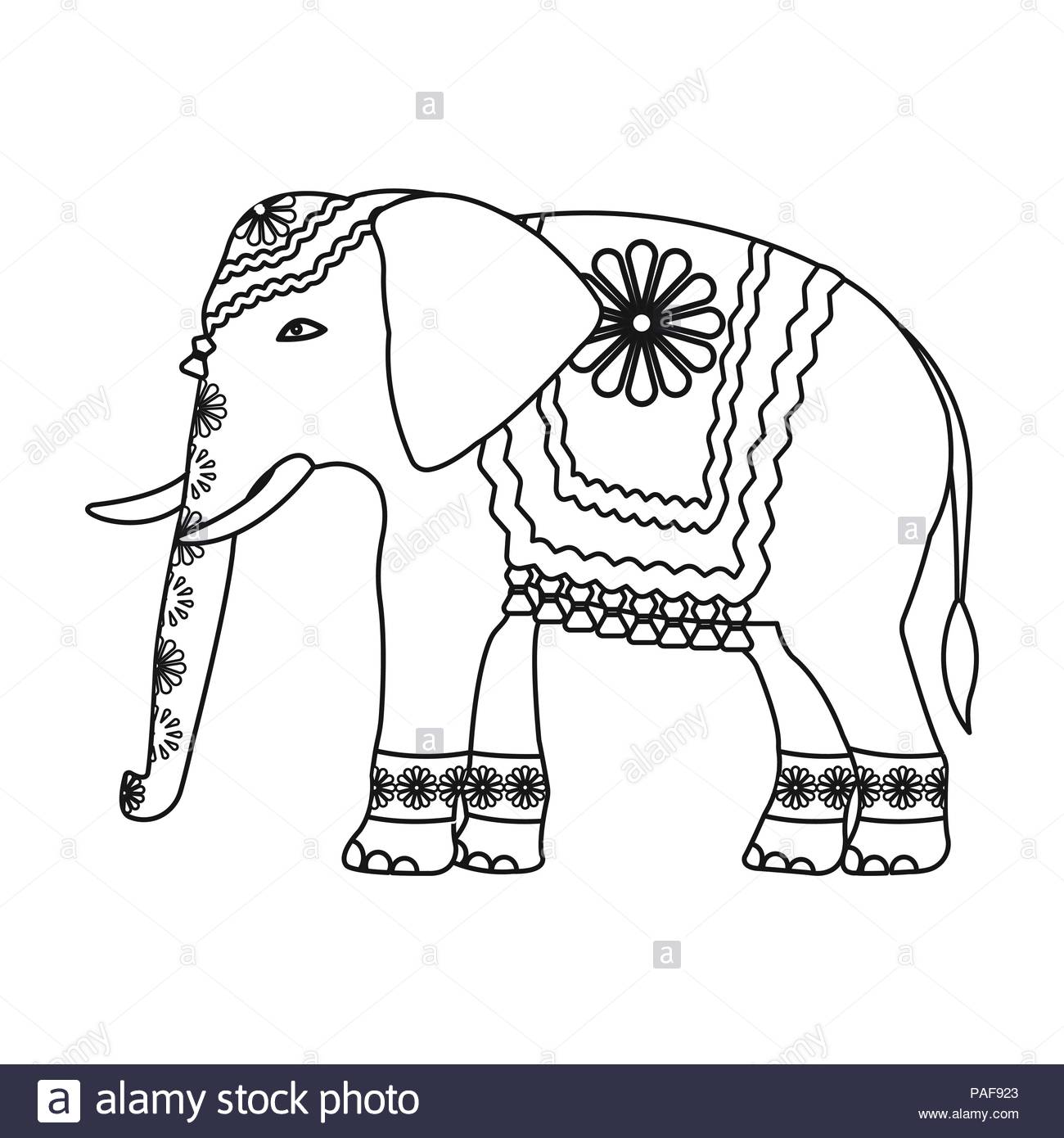 Indian elephant icon in outline style isolated on white background 1300x1390