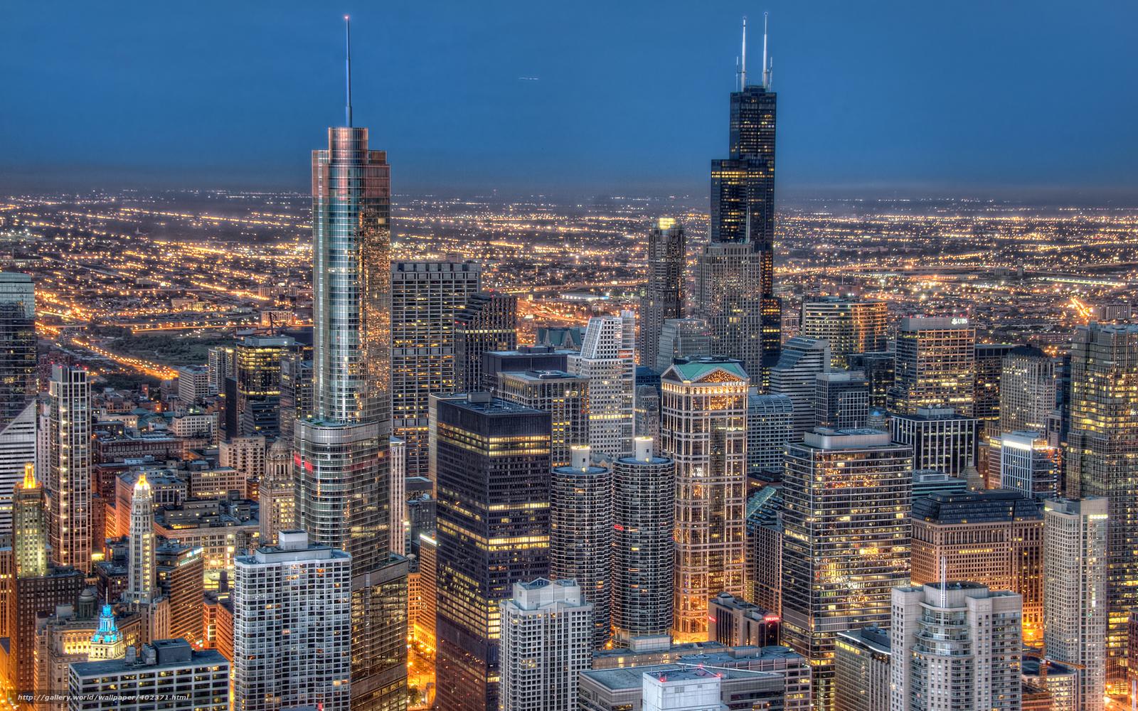 Download wallpaper Chicago Illinois night desktop 1600x1000