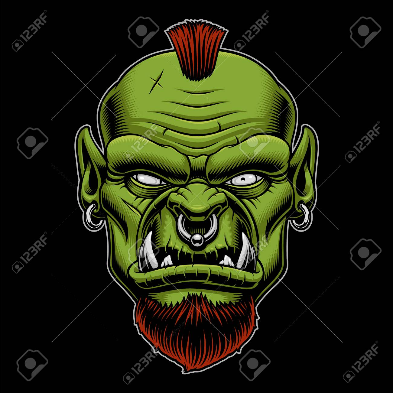 Vector Illustration Of An Angry Orc On The Dark Background 1300x1300
